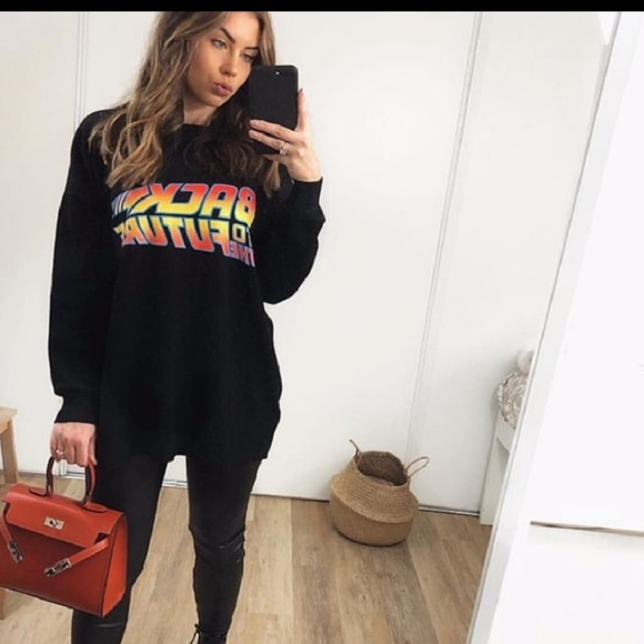 e151d21295b6 Zara Sweaters | Back To The Future Printed Knit Sweatshirt | Poshmark